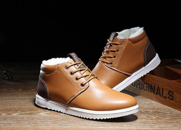 Мужские рыжие ботинки на меху