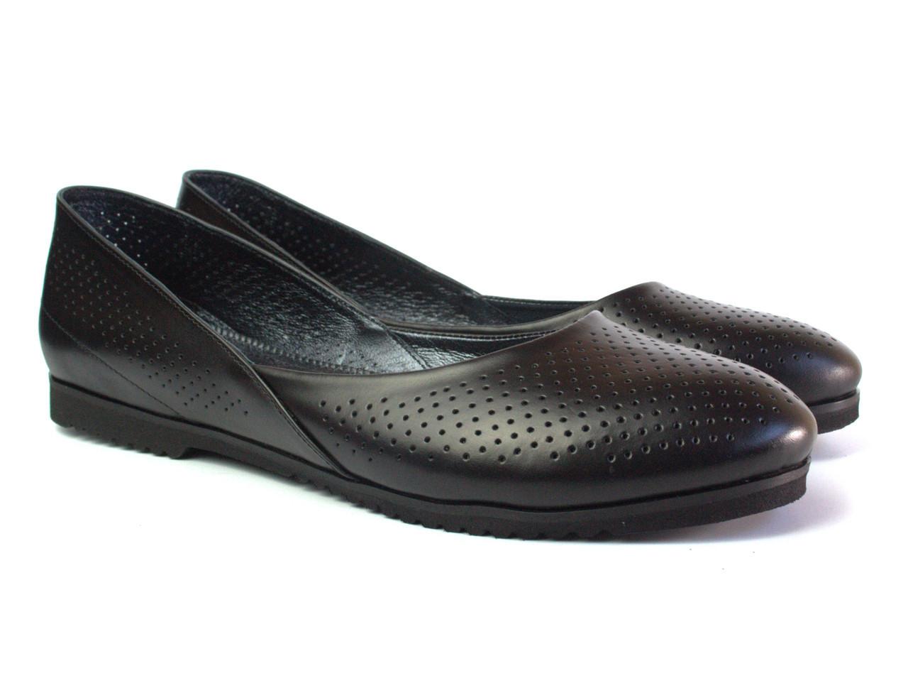Черные балетки кожаные женская обувь Scara U Black Perf Leather by Rosso Avangard летние с перфорацией