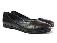 Черные балетки кожаные женская обувь Scara U Black Perf Leather by Rosso Avangard летние с перфорацией, фото 1