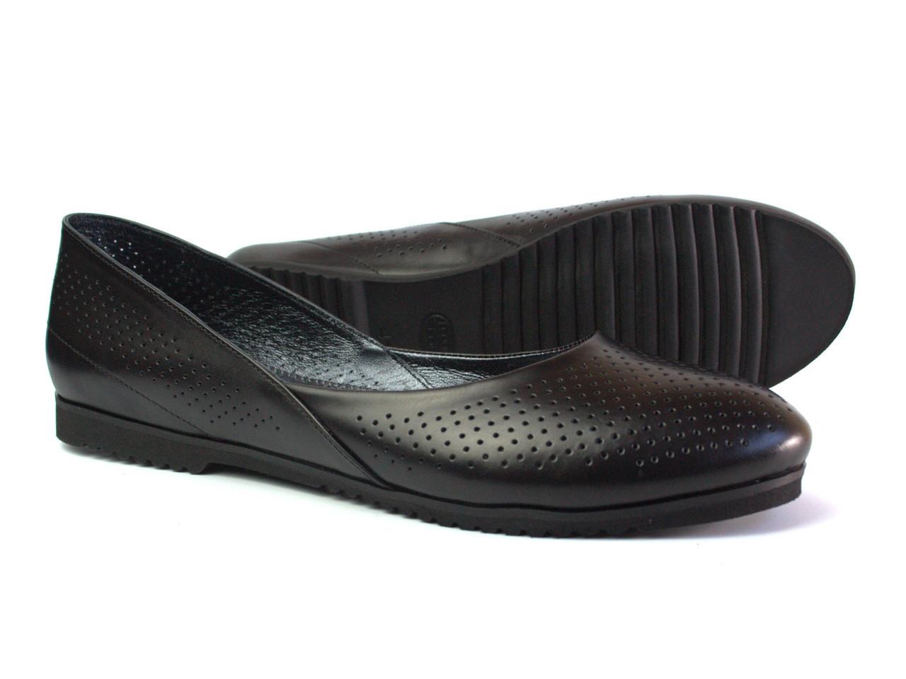 0b7954d410d5 Черные балетки кожаные женская обувь Scara U Black Perf Leather by Rosso  Avangard летние с ...