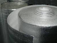Изоляция листовая ППЭ 10мм*1м*50м IZOFLEX самоклей усиленный+фольга.Полотно (рулон, пенополиэтилен вспененный)