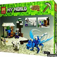Конструктор Lele 33225 Майнкрафт Minecraft Ледяной дракон 291 деталь