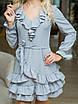 Светло-серое в горошек Платье с воланами, фото 6