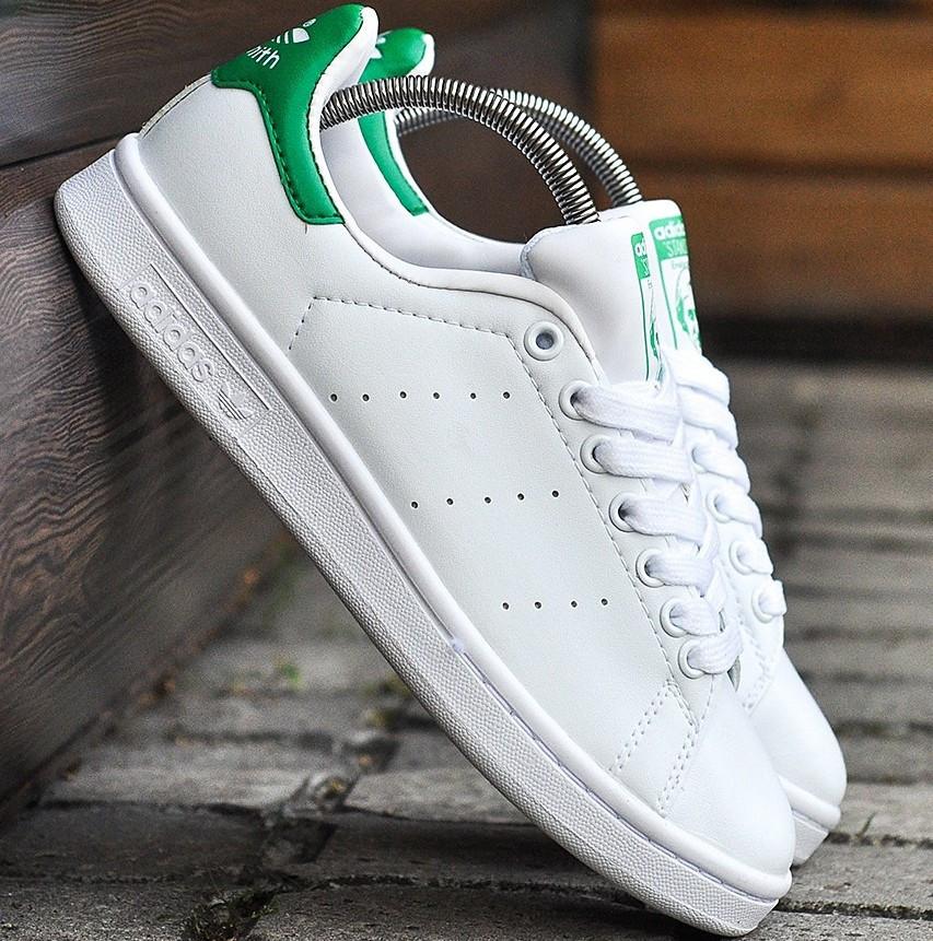 Женские и мужские кроссовки Adidas Stan Smith White Green