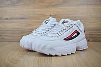 Кроссовки в стиле Fila Disruptor 2, белые , кожа, фото 1