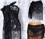 Черное кружевное парео платок Д-731, фото 2