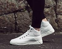 Белые мужские кроссовки на шнуровке, фото 1