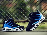 Спортивные крутые кроссовки черный + синий, фото 1