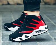 Спортивные крутые кроссовки черный + красный, фото 1