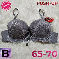 Лифчик пуш-ап  кружевной  женский бюстгальтер чашка (В) 65~70 на 2 крючка цвет серый 6631