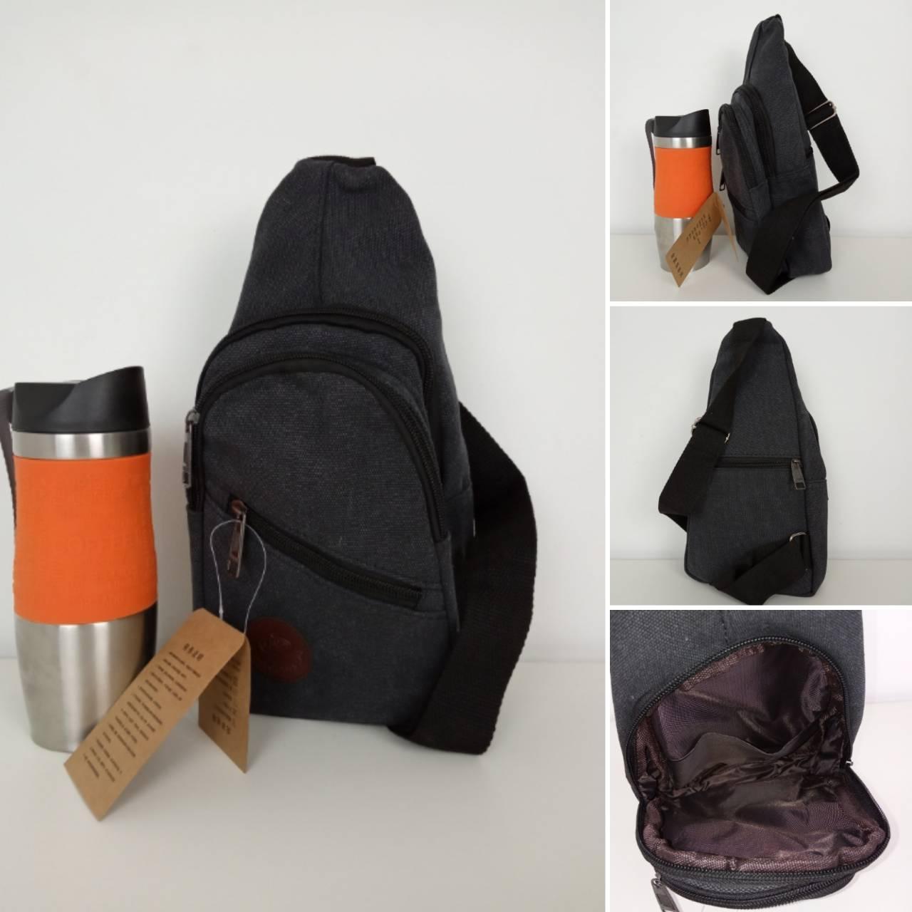 Мужской текстильный рюкзак слинг 31*18*10 см