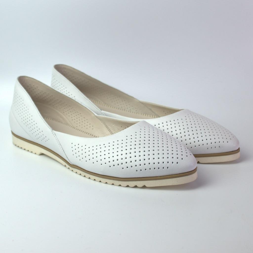 Белые балетки большого размера женские кожаные Scara V White Perf Leather by Rosso Avangard BS