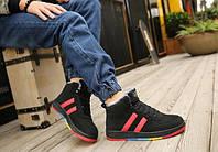 Черные зимние высокие кроссовки с разноцветной подошвой, фото 1