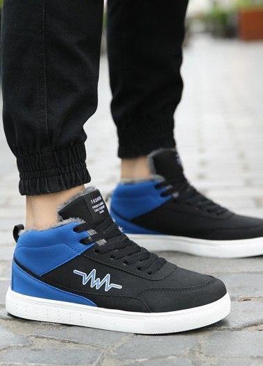 Черные двухцветные мужские высокие теплые кроссовки