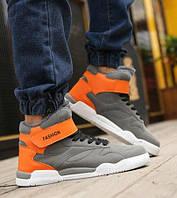 Серые мужские высокие кроссовки на липучке, фото 1