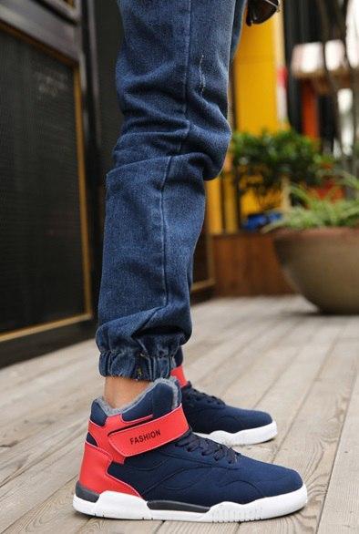 Синие мужские высокие кроссовки на липучке