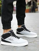 Серые двухцветные мужские высокие теплые кроссовки, фото 1