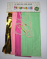 Тассел гирлянда, кисточки тассел тишью 20 шт, розовая, малиновая и мятная, с золотом