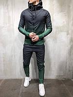 Спортивный костюм мужской черный с зеленым  весна осень лето спортивный костюм градиент  РАЗНЫЕ ЦВЕТА