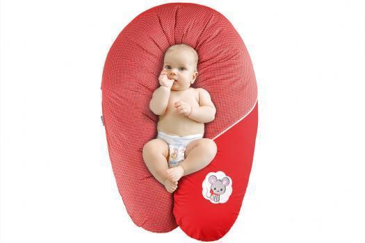 Подушка для кормления стандарт Горох красная 35*200