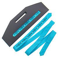 Мужской тонкий галстук с вышивкой №835