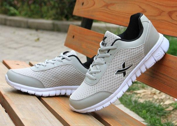 Легкие летние мужские кроссовки с X серый + черный