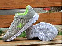 Легкие летние мужские кроссовки с X серый + зеленый, фото 1