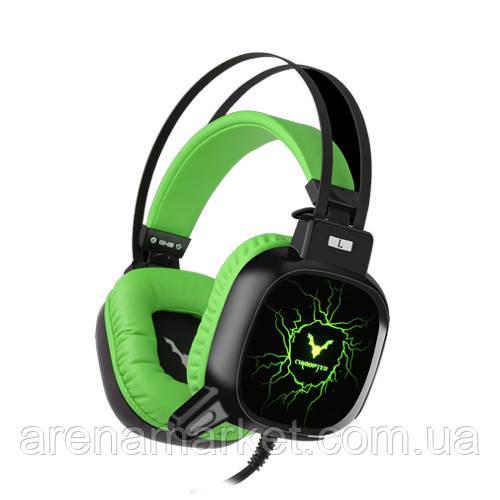 Игровые наушники WESDAR GH9, USB+AUX - черно-зеленый