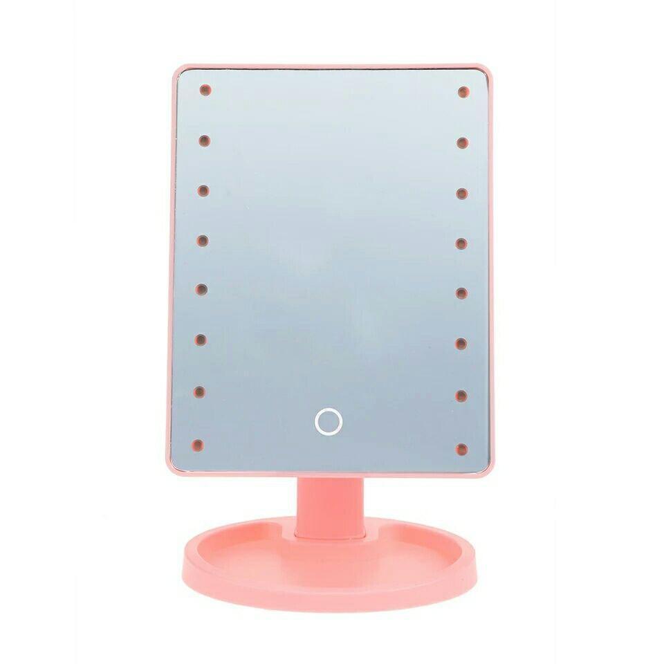 Настольное косметическое зеркало с подсветкой для макияжа  Large LED Mirror 22 розовое