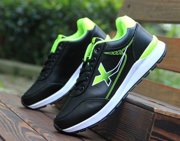 Кроссовки мужские двухцветные черный + зеленый
