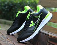 Кроссовки мужские двухцветные черный + зеленый, фото 1