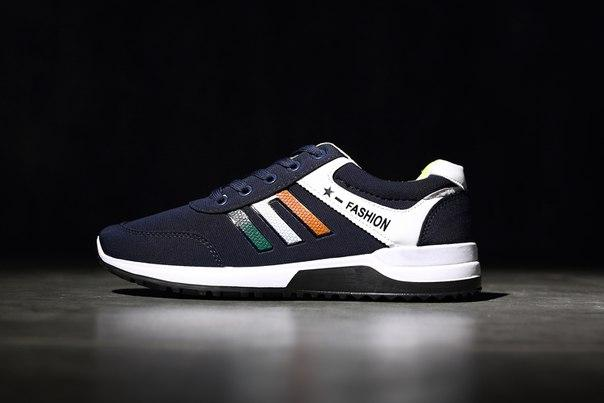 Молодежные мужские кроссовки синие дешево