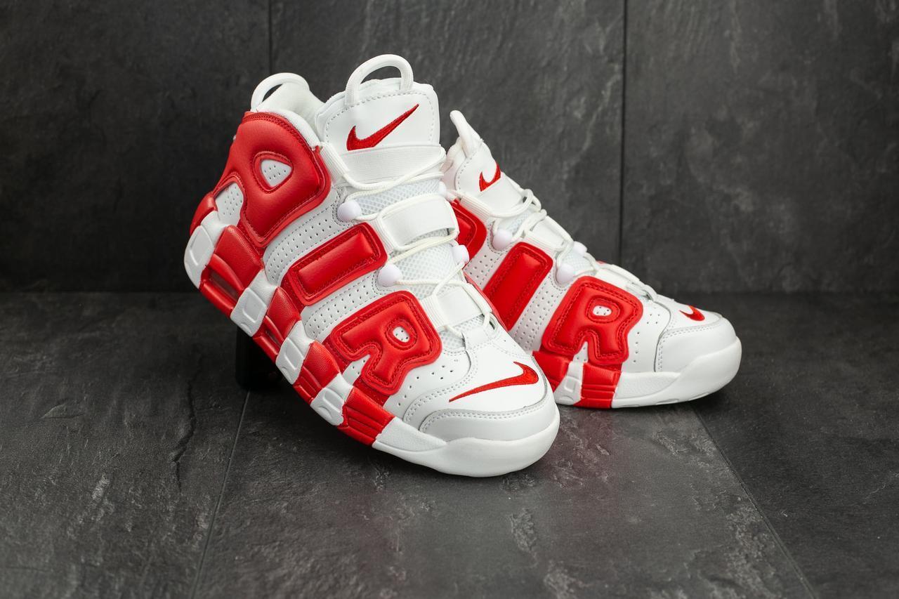 Кроссовки A 309 -8 (Nike Air More Uptempo) (весна/осень, мужские, искусственная кожа, белый-красный)