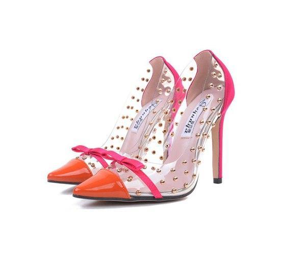 Женские оранжевые туфли c бантиком недорого