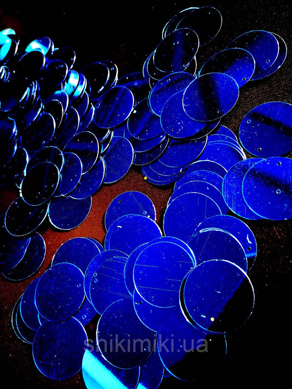 Пайетки сумочные 30 мм, цвет синий