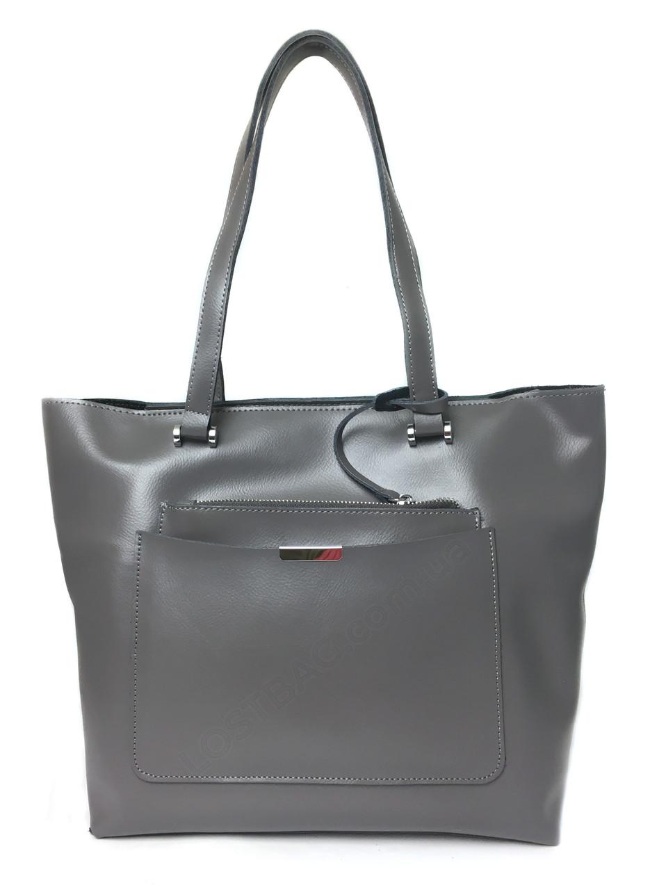 Шкіряна жіноча сумка сірого кольору італійська шкіра