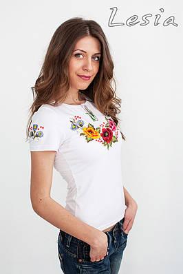 розмір XXL Жіноча футболка з вишивкою Мальви 7b6213a037329