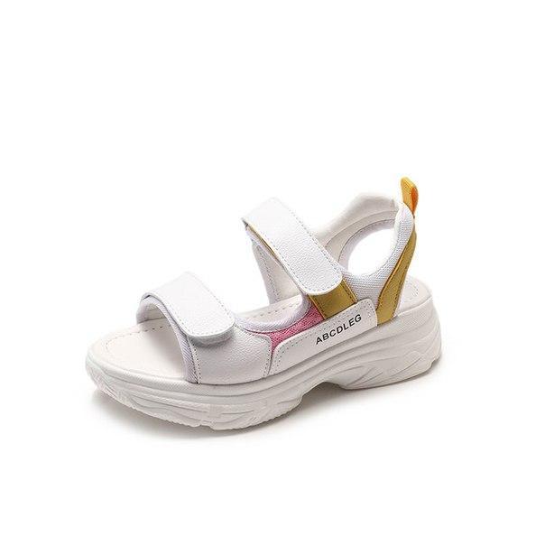 Белые сандали на липучках и на высокой подошве