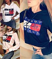 Женский свитшот с капюшоном Tommy черный, розовый, белый(КОПИЯ)