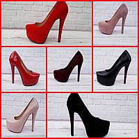 Туфли стильные реплика Лабутен Louboutin в разных цветах эко-замша 3c8b372906749