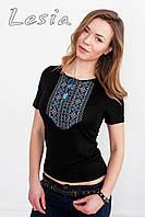 Жіноча футболка з вишивкою Мережка синя