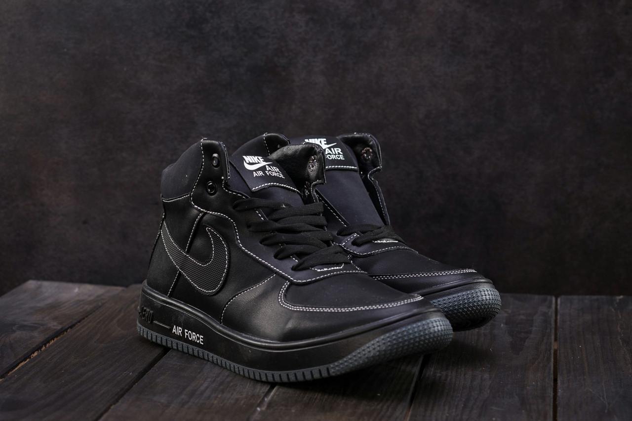 Кеды CrosSAV 57 (Nike Air Force) (зима, мужские, натуральная кожа, черный)