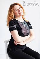 Жіноча футболка з вишивкою Мережка сіра