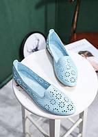 Легкие голубые балетки в цветочки, фото 1