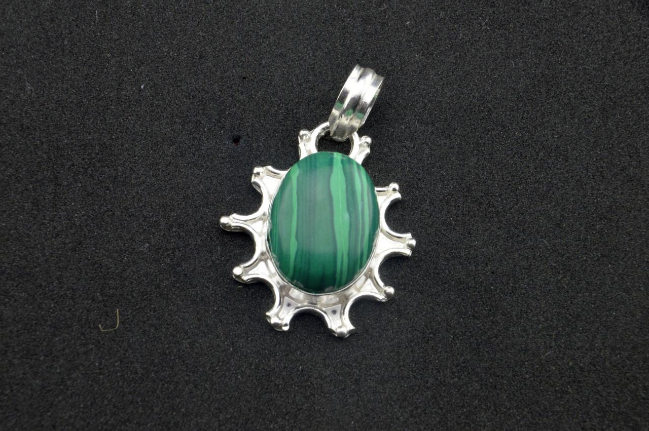 Серебряный кулон с зеленым камнем бирюза Индия серебро 925 проба
