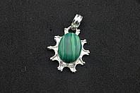Серебряный кулон с зеленым камнем бирюза Индия серебро 925 проба, фото 1