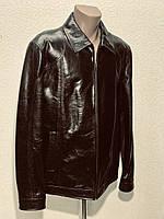 Куртка мужская кожаная натуральная укороченная на молнии коричневая.