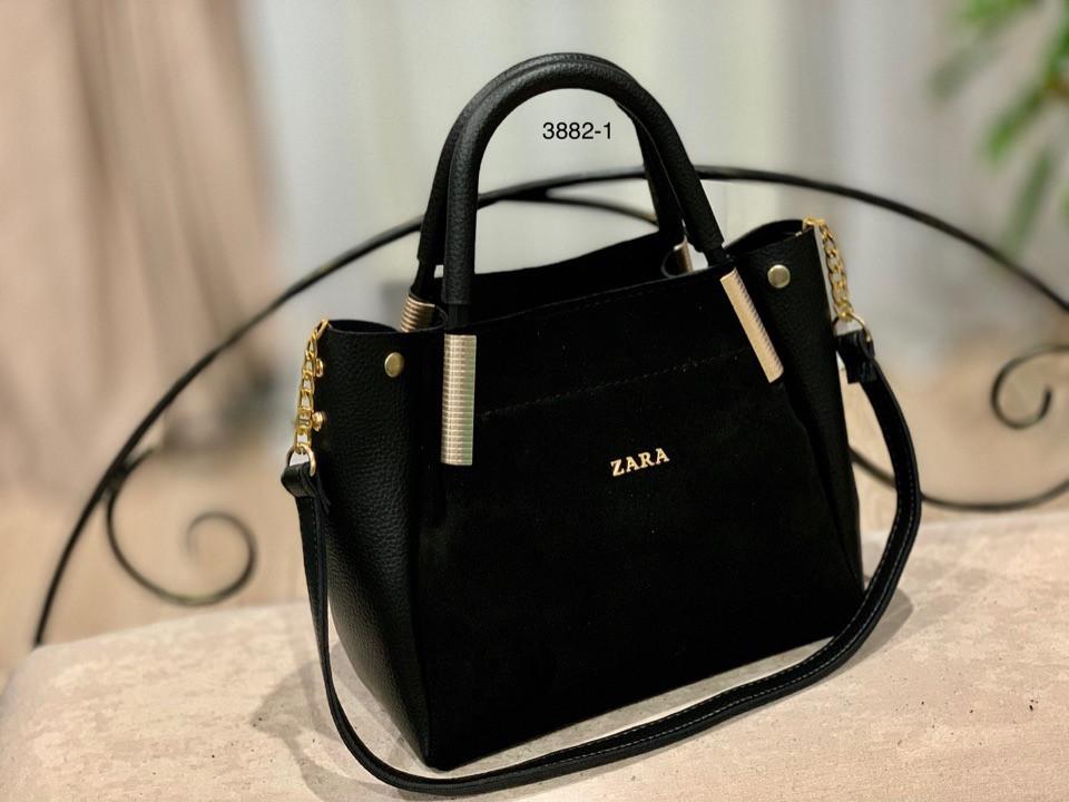 9b5564973fbe Женская сумка ZARA натуральная замша и кож зам с подкладкой /черный, бордо/