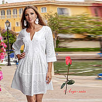 752c407922f Летнее женское платье-туника из натурального хлопка 1363