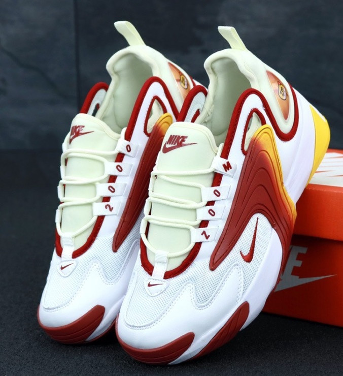 Мужские кроссовки Nike Zoom 2k white/red yellow. Живое фото. Топ реплика ААА+